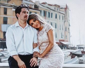 Custom Portrait Painting Oil Painting from Photo Realistic Art Couple Portrait