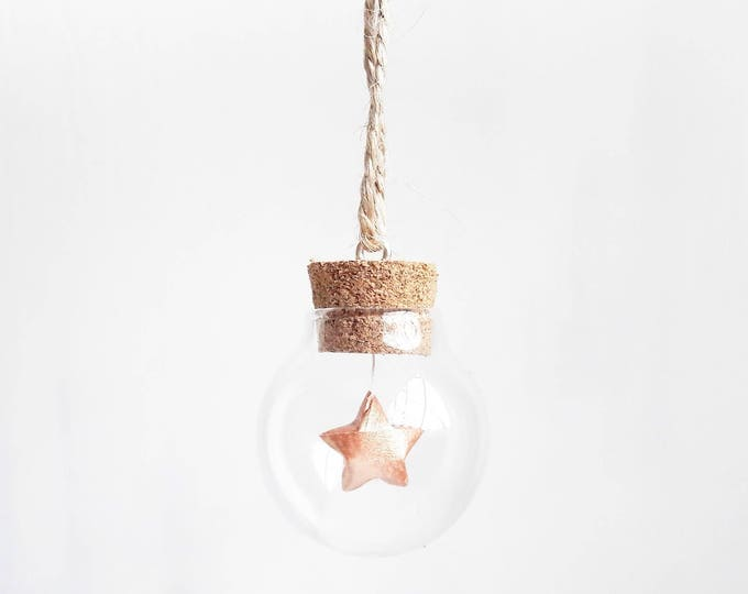 Tiny bauble with a mini rose gold paper origami star - Christmas tree decoration - Christmas ornaments - ornaments and accents