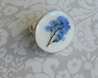 Forget me Not Ring - Blue Flower Ring - Forget Me Not Gifts - Memorial Gifts - Resin Flower Ring - Gifts For Women - Sentimental Gift