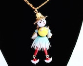 Hula Girl Necklace ~ Vintage Articulated Bead Crib Toy Lady w/ Plastic Grass Skirt
