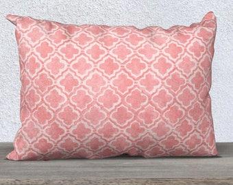 Blush Accent Pillow, Moroccan Pattern, Blush Throw Pillow, Blush Pillow Cover, Blush Nursery, Blush Lumbar Pillow, 14x20, Blush Pillowcase