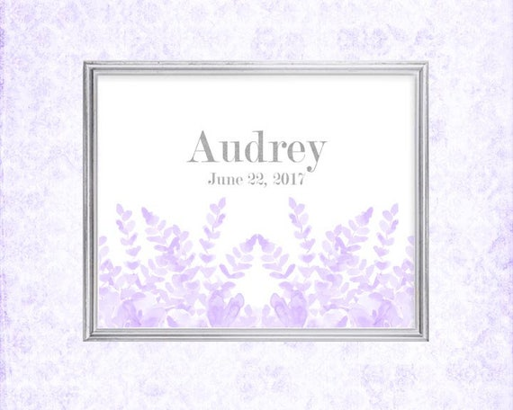 Personalized Baby Gift in Lavender, 8x10 Birth Stats Print