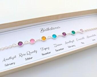 Birthstone Necklace, Family Necklace, Mothers Necklace, Childrens Birthstones, Grandchildrens Birthstones, Choker Necklace, Swarovski