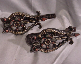 Fantastic Curtain Tiebacks Wrought Iron Vibrantly Colored Floral Design Old!