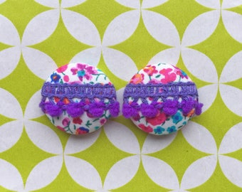 Fabric Button Earrings / Wholesale Jewelry / Pom Pom Earrings / Made in USA / Stud Earrings / Bridesmaid Gifts / Liberty of London / Bulk