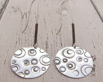 Disc earrings, Silver earrings, Drop earrings, Celestial earrings, Celestial fashion, Planet earrings, Star earrings, Astronomy earrings