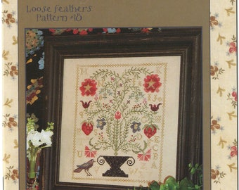 Strawberry Garden by Blackbird Designs - Loose Feathers Club #18 - OOP Cross Stitch Pattern