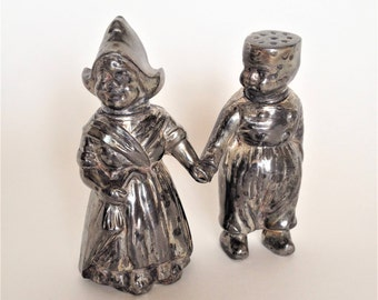 Antique Heavy Silverplate Dutch Boy and Girl Salt and Pepper Shakers, MW Carr Co, Vintage Table Decor, Collectible and Unique