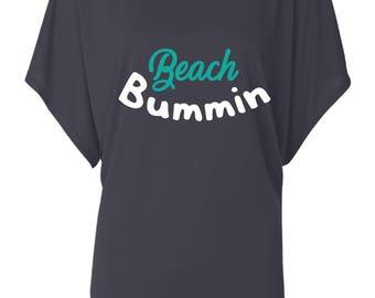 Beach Bummin Shirt. Dolman Style Top. Oversize Fit T-Shirt. Slouchy Wideneck Top. Grey Shirt or Black