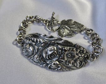 Rose Repoussé Bracelet Sterling Silver Floral Rose Daisy Flower Heavy Sterling Statement Bracelet OOAK by Treasure Grotto