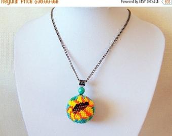 15% SALE Big Beaded Sphere Pendant with Sunflower - Ball pendant - Bead crochet pendant - Modern Pendant Necklace - Flower Pendant Necklace