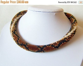 15% SALE Brown Snake necklace - Bead Crochet  necklace - Snake skin necklace - Python skin necklace - Beadwork Jewelry - modern necklace