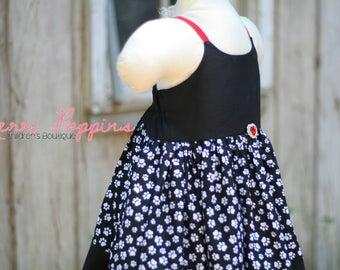 3t RTS Lil Dalmatian strappy sundress, Twirly 101 Dalmatian Inspired, Dress Up, Every Day Play Wear, Handmade,Dalmatian birthday
