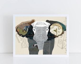 Elephant Art Print - Poster Collage Illustration Print