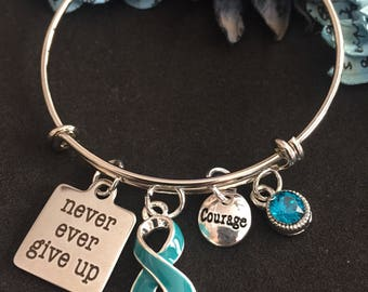 Teal Ribbon Charm Bracelet / Never Give Up / Ovarian Cancer, Myasthenia Gravis, POTS, PTSD, Trigeminal Neuralgia, Scleroderma, Anxiety