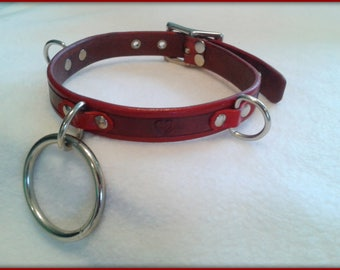 Leather Play Collar - Red Vegtan Leather
