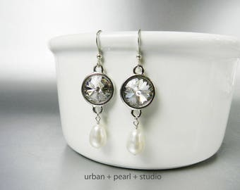 Swarovski Crystal and Pearl Earrings Long Crystal Earrings Dangles with Pearls and Crystals Fish Hook Ear Wire
