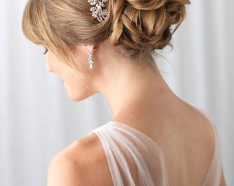 Rose Gold Wedding Rhinestone Pearl Comb, Rose Gold Comb, Pearl Bridal Comb, Rhinestone Wedding Hairpiece, Bridal Comb. Wedding ~TC-2228