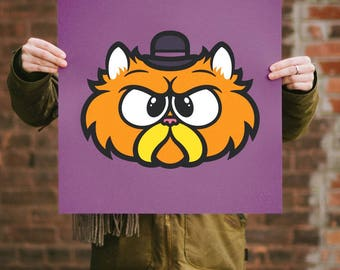 Pets in Tiny Hats (Wilford) Cat Screen Print. Kids Room Art. Signed Limited Edition of 50. By Artist Matt Douglas