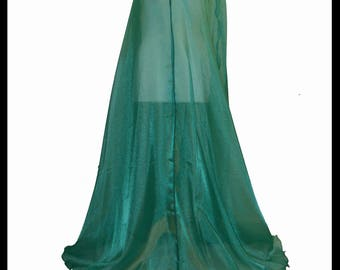 Beautiful Green Shimmer Organza Cloak. Ideal for a Summer Wedding, Handfasting or Medieval Event. Brand New. Made Especially For You.