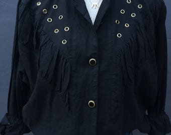 Vintage black button down blouse