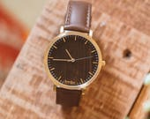 Valentine's Gift, Walnut Wood Gold Watch, Wood Watch Leather Band, Wood Face Watch - HELM-WG