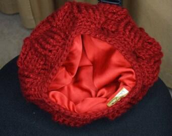 Satin Lined hat Basket Weave crochet hat Beanie | Sale