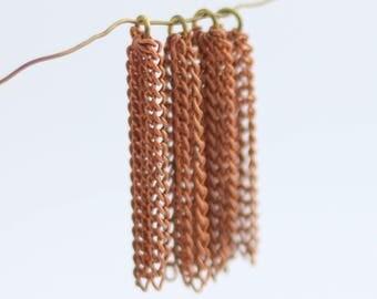 """Vintage Chain Tassel - Copper and Brass - 1.5"""" - 4 Tassles"""