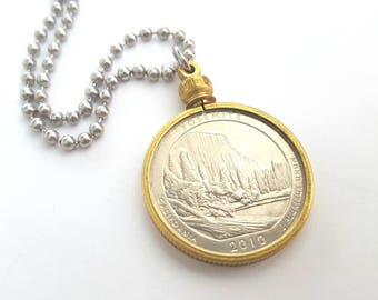 Yosemite  Quarter Coin in Vintage Brass Holder Necklace with Stainless Steel Ball Chain - 2010 USA State Quarter - National Park Quarter