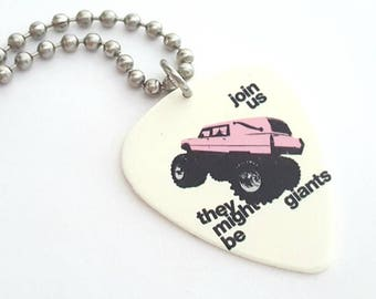 They Might Be Giants Guitar Pick Necklace with Stainless Steel Ball Chain - music