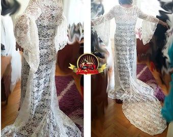 Medieval wedding lace dress, Renaissance plus size gown, Medieval plus size dress, Beach lace wedding dress, Bell sleeve fairy wedding dress