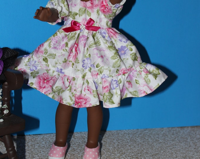 Handmade Pink Flowers print Dress, Pink Ribbon Shoes Included. to fit the wellie wisher and Heart to Heart doll FREE SHIPPING