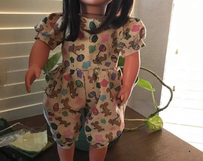 Easter /Bunny and Eggs Print Jumper, and Shoes  Handmade for the dolls like American Girl and other 18 inch dolls. FREE SHIPPING