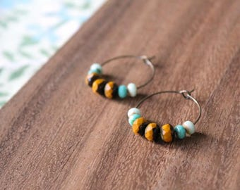 mustard mint czech glass hoop earrings