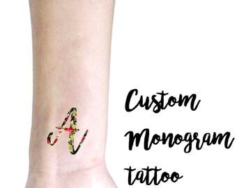 Tatuaggio temporaneo personalizzato con la tua iniziale / Tatuaggio personalizzato per Matrimoni, Feste, Eventi / Tatuaggio con monogramma