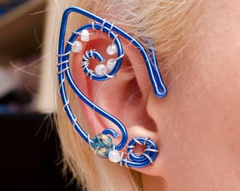 Blue elf ear cuff