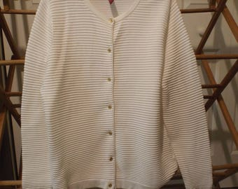 Women's White Sweater Vintage Lands' End