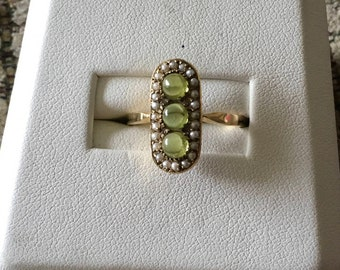 Victorian Seed Pearl and Peridot Soft Oval  Ring in 14k Yellow Gold