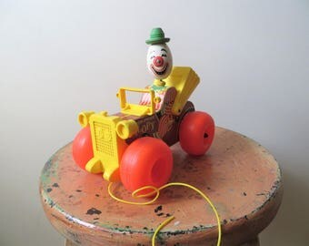 70s Fisher Price Jalopy Pull Toy Wooden Toy Car with Wheels and Bobble Head Clown Noise Maker Kids Pull Toy
