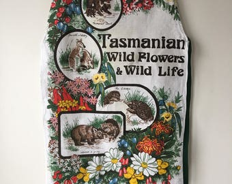 Tasmanian linen bib apron  souvenir  hand made from a tea towel wildflowers and wildlife in Tasmania bright colorful.