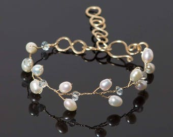 Aquamarine Bracelet with white freshwater pearls in 14k gold filled wire | Blue March birthstone | Nature inspired woodland jewelry