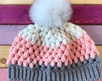 Christmas Gift,Gift for Hat,Handmade Gift,Faux Fur Pom,Women's Hat,Winter Hat,Crochet Hat,Pom Pom Hat,Pink Winter Hat,Handmade Hat,White Hat