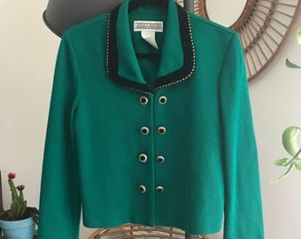 1960's Emerald Green Double Breasted Cardigan