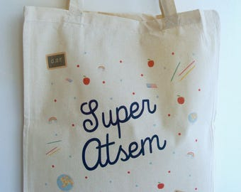 "Tote bag ""Super?"" - end year gift teacher gift to school gift Christmas gift?"