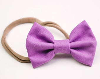 Valentine's Day Bows, Violet Bows, Big Girl Bows, Nylon Headbands, Fabric Bows, Hair Accessories, Bow Clip, Soft Headbands