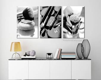 Chanel bathroom set/black and white photography/makeup bathroom decor/large canvas art/Chanel print/Bathroom Art/large wall art/Chanel decor