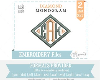 """2"""" Diamond Monogram Font: Embroidery Design/ Files for instant download for embroidery machines Diamond BX Font"""