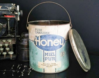 Vintage Large Honey Tin/Pail, Large Tin