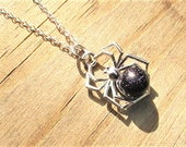 Spider Necklace, Halloween Pendant, Sterling Silver Necklace, Blue Goldstone, Gothic Jewellery, Spider Pendant, Halloween Jewellery Gift