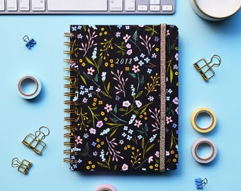 FREE SHIPPING Daily Planner 2018 | 12 Months Planner | Choose your start month | Wild flowers design